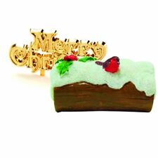 Anniversary House: Robin on snowy log resin christmas cake topper