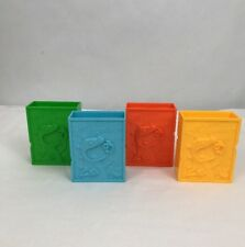 "Lot Of 4 Rugrats Reptar Crunch 1999 Hard Plastic Small Boxes 2.75""x3.5"" Storage"