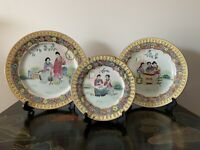 Three Vintage Hand Painted Chinese Plates