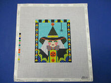 New ListingHandpainted Needlepoint Canvas Shelly Tribbey Witch Halloween Spider Pumpkins