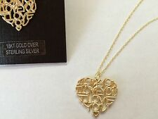 "HEART ""I LOVE YOU"" 18KT GOLD STERLING SILVER HEART LOVE NECKLACE RV$65~ NWT~"