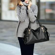 Women Fashion Designer Black Shoulder Bag Tote PU Leather Handbag Shopping Bag