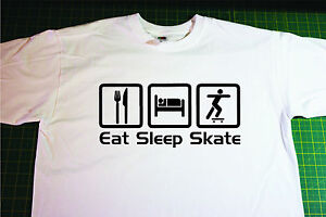 Eat, Sleep, Sateboard T-Shirt. In White. Size Extra Large. Skate, board, Skating