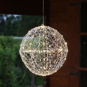 LED 3D Drahtkugel TRASSEL Leuchtkugel Ball 30cm 150 LED Silberdraht outdoor