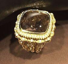 DORIS PANOS 18K GOLD & DIAMOND SMOKEY TOPAZ 'DAPHNE ' RING, NEW Retail $9,510