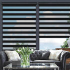 Horizontal Window Shade Blind Zebra Dual Roller Blinds Curtains Easy to Install