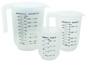 3pc Plastic Measuring Jug Set Stackable with Handle 1L 500ml 250ml Kitchen Cups