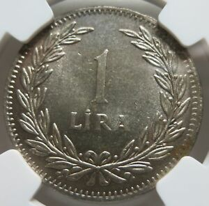 TURKEY 1 lira 1947 NGC MS 64 UNC Reeded edge with Inscription Silver