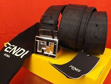 NWT FENDI BLACK COLLEGE LEATHER ZUCCA BLACK FF BUCKLE BELT ONE SIZE FITS ALL