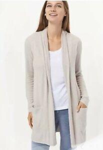 NEW Silver Gray Barefoot Dreams CozyChic Ultra Lite Long Cardi Sweater MEDIUM