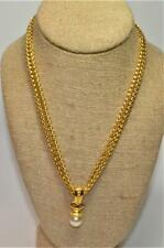 """Signed JOAN RIVERS Goldtone Faux Pearl Pendant on 17"""" Double Chain"""