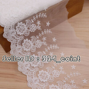 79cm, Delicate white embroidered flower tulle lace trim 23cm Wide Sewing DIY