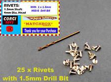 25 x  RIVETS & Drill Bit - Re-Fixing Baseplate Matchbox Hotwheels OTHERS