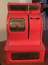 Vintage Late 1950's Uncle Sam's 3 Coin Red Register Metal Toy Bank