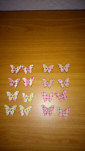 Holzknöpfe Schmetterling 8 Stück in 4 verschiedenen Mustern