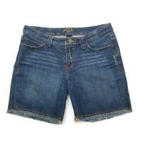 "Seven7 Womens Distressed Mid Rise Jean Shorts Raw Hem Size 31 Inseam 7.5"""