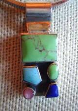 """LARGE SOUTHWEST STYLE STERLING MULTI COLOR GEMSTONE PENDANT 18"""" CHAIN"""