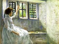 Oil painting julian alden weir - The Window Seat young woman in white dress art