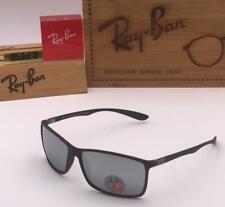 Ray Ban Dapper Men's Sunglass Black Silver Mirrior Square RB 4179 Polarized