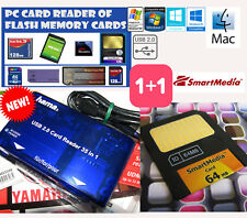 SMARTMEDIA CARD 64MB+Carte mémoire PC CARD READER-+KORG-YAMAHA-ROLAND-Kurzweil