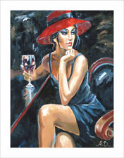 LMOP491 fashion young girl &hat Wine Glass hand painted art oil painting  canvas