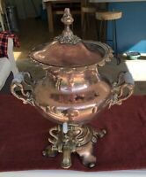 Lovely Antique Copper Russian style Samovar with Brass Spigot & Ceramic Handles