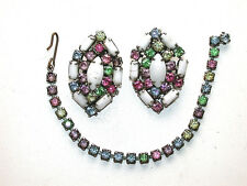 Beautiful Vintage Multicolored Rhinestone Clip Earrings & Bracelet Set