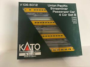 Kato Union Pacific Streamliner Passenger Car, 4 Car (SET B) New/Old Stock