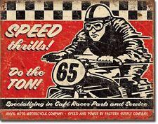 Cafe Racer Speed Thrills Motorcycle Bike Distressed Retro Vintage Metal Tin Sign