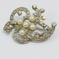 Vintage Faux Pearl Aurora Borealis Rhinestone Brooch Silver Tone