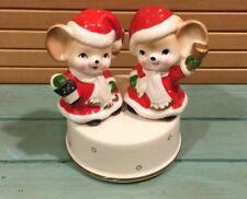 New listing Vintage Christmas Mouse Music Box Rotating, Japan,