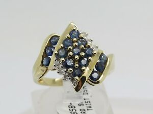 NWT 10k Yellow Gold Round Blue Sapphire Cluster Diamond Accent Ring Size 7