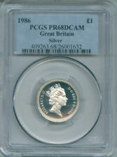 1986 GREAT BRITAIN SILVER POUND PCGS PR68DCAM FREE S/H (1517700)