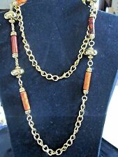 """VINTAGE SIENNA SUNSET NECKLACE BROWN BY AVON* 38"""" LONG *NIB* RARE 1995 OLD STOCK"""
