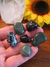 New Natural Green Quartz & Black Snowflake Obsidian Crystal Healing Set of 6