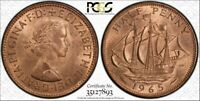 1965 Half Penny 1/2D Great Britain PCGS MS64RD (Red) Great Year Top Pop Coin