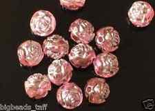 50 PC acrílico flor rosa granos, Rosa Claro, Plata Forrado, 8 Mm