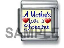 A MOTHER'S LOVE IS FOREVER 9MM ITALIAN CHARM LINK mom family daughter son mum ma
