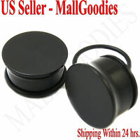 "0940 Black Acrylic Single Flare Ear Plugs 11/16"" Inch 18mm MallGoodies 1 Pair"