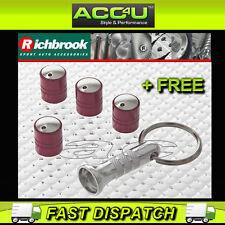 Richbrook Spinning Rosso Auto Anti Furto valvola tappi polvere set di 4 + GRATIS