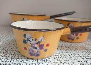 70s 80s Vintage Enamel Disney Land Paris Minnie Mouse Pans Saucepans Set Poland
