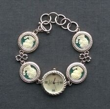 """STERLING SILVER JADE CAMEO WATCH 7.5"""" FINEST SOLID 925"""