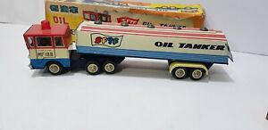Vintage Red China MF 188 Friction Tin Toy SFTF Oil Tanker Truck in Box