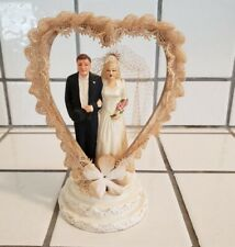 Vintage 1947 Art Deco Wedding CAKE TOPPER Heart Shaped Lace Arch Chalkware