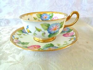 Royal Chelsea 1950'S Pink & Blue Morning Glory & Gold Tea Cup & Saucer  England