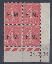 SEMEUSE FRANCHISE MILITAIRE N° 6 - Bloc de 4 COIN DATE - NEUF - 24/3/31