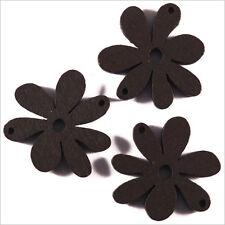 Lot de 10 Fleurs Perles en Bois 25mm Marron foncé
