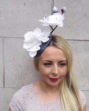 White Cream Silver Orchid Flower Fascinator Hat Pillbox Races Ascot Wedding 3159