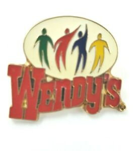 Wendy's Lapel Pin -  4 People - Green - Red - Blue - Yellow - Silhouette