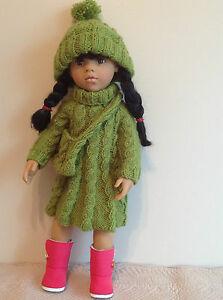 """Dolls Fashion clothes knitting  pattern. 18"""" doll. Cable dress set. KNM75"""